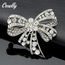 Wholesale Cute Cheap Bows - Cute Bow Crystal Rhinestone Brooches Pins Wedding Bouquet Brooches Broach Jewelry Wholesale In Bulk cheap Price