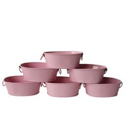 Wholesale Mini Metal Pots Wholesale - Free Shipping wholesale Pink small Favor Pail metal oval Succulent pots Balcony Garden Flower pot Planter mini Nursery Pot