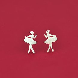 Wholesale Dance Charms Silver - 5 pairs lot Elegant Real 925 Sterling Silver Jewelry Lovely Dancing Ballet Girl Earrings for Women Earrings Fashion Brincos