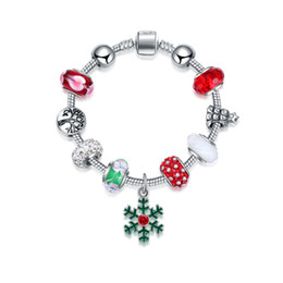 Wholesale Glass Ceramic Materials - New Stock Fashion Jewelry Alloy Material DIY Charm Womens Glass Beads Bracelet for 2017 Christmas party