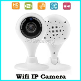 Wholesale Network Security Cam Hd - Free DHL Mini Wifi IP Cameras HD 720P Baby Moniter Wireless P2P Network TF Card Camera Night Vision Security Cam Speakers Motion Detecting