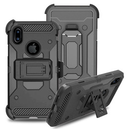 Wholesale Iphone Swivel Cases - For iphone X 8 Galaxy Note 8 Case Hard PC Kickstand With 360 Degree Swivel Belt Clip Full Body Protective Holster Case A