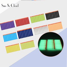 "Wholesale Dart Bow - 100 pcs lot 7.2cm 2.7"" Fluorescence Refills Darts Round Head No Hole Hollow Foam Bullets For Nerf Toy Gun"
