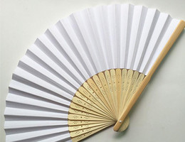 Wholesale Decoration Fan Party - 23 cm Wedding White color Paper Hand Fan Wedding Party Decoration Promotion Favor