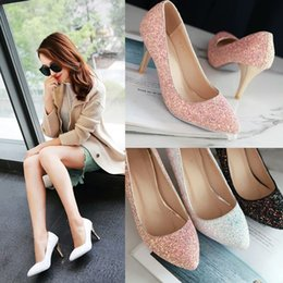 Wholesale Pink Mary Janes - Hot Selling Women Fashion High Heel Shoes Silver Sequins Bridal Bridesmaids Wedding Shoes Size 35-39 the Bride shoes
