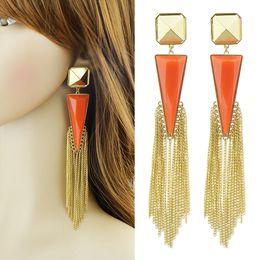 Wholesale Blue Rhinestone Drop Earrings - New Coming Triangle Alloy Rhinestone Fashion Long Tassel Drop Earrings
