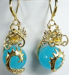 Wholesale Gold Filled Heart Earrings Hoop - Lovely blue jade gold dragon hoop earrings>>> free shipping