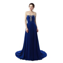 Wholesale Cheap Prom Dresses China Made - Long Party Dress Vestidos Do Baile De Finalistas 2017 Royal Blue Chiffon Prom Dresses Cheap Evening Dresses Made in China