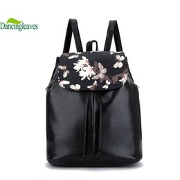 Wholesale Leather Bags For Laptops Ladies - Wholesale- vintage leather women backpack printing school bags for girls fashion laptop bag lady shoulder bags fashion women bag DL9208