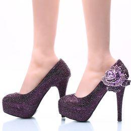 Vestido de fiesta morado de cenicienta online-Las nuevas mujeres del estilo visten el Rhinestone púrpura con la flor de Rose Wedding nupcial el alto calzan las bombas del baile de fin de curso de Cenicienta más el tamaño