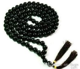 Wholesale Tibetan Pearl Beads - FFREE SHIPPING** 108 Tibetan Buddhist Black Jade Prayer Beads Necklace AAA