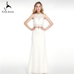 marcas americanas vestidos de noite Desconto Nova Marca Branco Vestido de Noite Halter Pescoço Elegante Lace Senhoras Sereia Vestidos de Festa Estilo Europeu Americano
