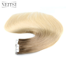 Wholesale New Remy Tape Hair Extensions - Neitsi New Arrival 20'' 20Pcs Mini Heart Shape Tape in Human Hair Extensions Stright Remy Skin Weft Extensions Ombre Three Tone T12 18 613#