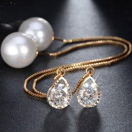 Wholesale Elegant Pearl Drop Earrings - New Water Drop Shape Austrian Crystal Long Stud Earrings with big Pearl Elegant Gold-color Jewelry for Women OME27