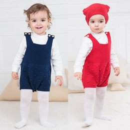 Wholesale Korean Wool Clothes - 2017 kids clothes Korean version of the cotton wool baby conjoined jacquard straps climbing the triangle to climb baby clothes