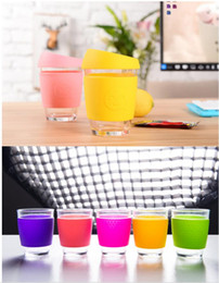 Wholesale Wholesale Reusable Coffee Cups - Candy color smile Glass Safe coffee cup Coffee JOCO design smile print Mugs Travel reusable glass cup 15 color
