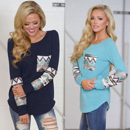 Pailletten t-shirts online-Mode Frauen Herbst Casual T-shirts Tasche Pailletten Splice Langarmshirts Frühling Tees für Frau