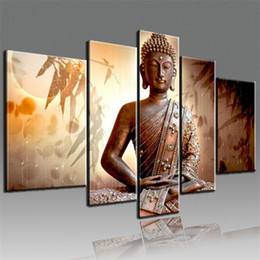 Wholesale Hand Painted Religious Art - Framed 5 Panel set Pure Hand Painted Art Oil Painting Religious Sakyamuni Buddha,Home Decor on High Quality Canvas size can be customized