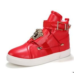 Wholesale Hip Hop Shoes For Men - Personality Metal Men Casual Shoes PU Leather Solid color Hip Hop Men Casual Shoes Big Size 37-45 Shoes For Men Black White Red