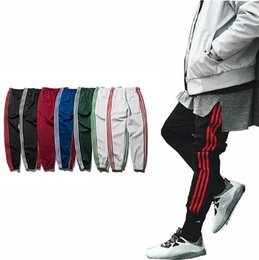 Wholesale Peplum Pants - new Kanye west season 4 pants vintage sport sweat pants Jogging Ankle banded pants striped trousers