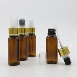 Wholesale Wholesale Amber Glass Spray Bottles - 30ml Round Shape Amber Pet perfume bottle with aluminum clourse 30cc Mist Spray Fragrance Plastic Bottle 50pcs lot