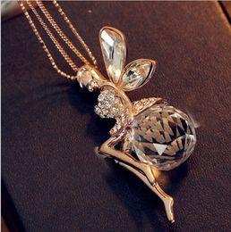 Оптовая День Святого Валентина подарок подлинная позолоченные супер блестят Кристалл Ангел девушка ожерелье мода Кристалл воротник ожерелья supplier super angels от Поставщики супер ангелы
