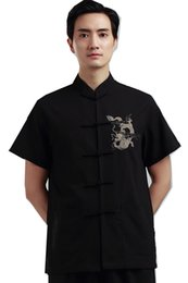 Wholesale Traditional Chinese Cotton Shirt - Shanghai Story Man's Dragon embroidery Top chinese traditional top male chinese kungfu shirt chinese shirt for men Dragon Shirt