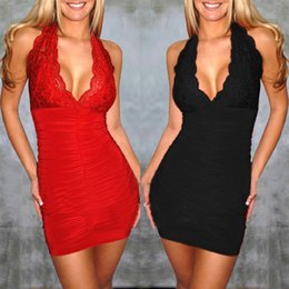 Wholesale Tight Hot Low Cut - Cheap the new tight low cut Sexy Halter Neck hanging hot fashion dress LYQ295