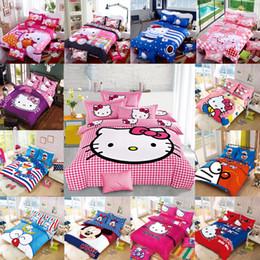 Wholesale New Pcs Bedding Set - Wholesale- New Bedding Cartoon Hello Kitty Mickey Mouse 4pcs 3pcs Duvet Cover Sets Soft Polyester Bed Linen Flat Bed Sheet Set Pillowcase