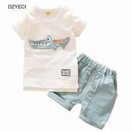 Wholesale Animal Costume Children - Fashion Baby Boy Crocodile Set Clothes Summer Children Cartoon Animals Top T Shirt+Shorts Pant 2PCS Outfits Kid Boutique Costume