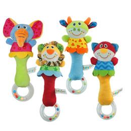 Wholesale Boys Animal Bedding - Wholesale- Animal Handbells Developmental Toy Cute Elephant Lion Bed Bells Kids Baby Soft Toys Rattle 1 Pc