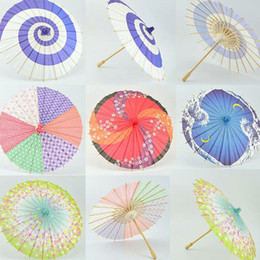 Wholesale Paper Crafts Children - 30cm Children Style Japanese Paper Umbrella Mini Hand-painted Long-straight Craft Parasols Home Decoration Free Shipping ZA4247
