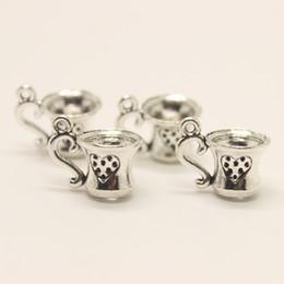 Wholesale Silver Tone Metal Charms - 24pcs-- 17x10mm Antique silver tone 17*10mm Tea Cup charm pendant Fit Bracelets Necklace DIY Metal Jewelry Making