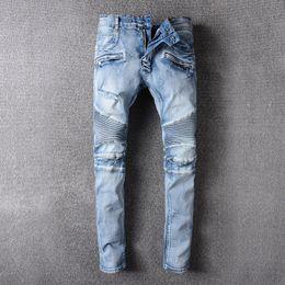Wholesale Motor Jeans - Mens Brand Pairs Designer Biker jeans blue distressed denim motor biker jeans thin leg back not pocket