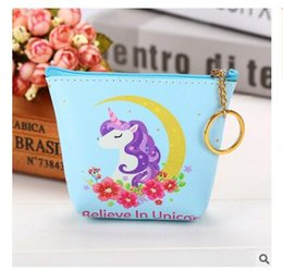 Wholesale Cute Key Pouch - Unicorn Purse Zipper Wallet PU Kids Bags Cute Coin Children Women Purse Money Pouch Cactus Change Pouch Key Holder Bag DHL Free Shipping