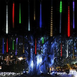 Wholesale Led Raining Christmas Lights - Multi-color 30cm 50cm Meteor Shower Rain Tubes LED Christmas Lights Wedding Party Garden Light Xmas String Light Outdoor