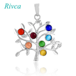 Wholesale Energy Necklace Stones - A0089 Rivca Natural Crystal 7 Chakra Stone Life Tree Necklace For Women Natural Reiki Symbols Jewelry Yogo Energy Pendant Amulet