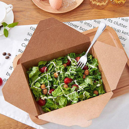 Wholesale Fast Food Packing - Disposable Kraft Paper Takeout Food Packing Container Rrectangular Fast Food Snack Salad Carrier Plate Free Shipping ZA4376