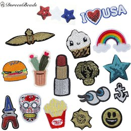 Wholesale Embroidered Anchor Patch - Wholesale- DoreenBeads Fashion Patched Denim Polyester Embroidered Appliques DIY Scrapbooking Craft Hamburger Anchor Jean Jacket Patch 1PC