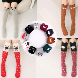 Wholesale Animal Clothes For Kids - fox socks Cartoon Cute Children Print Animal Baby Kids Knee High girls Socks Long 42cm For Toddler Girl 3-13Y Clothing Cotton Accessories