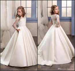 Wholesale Gold Appliques For Dresses - Princess White Lace Flower Girl Dresses 2017 New Sheer Long Sleeves First Communion Birthday Party Dresses Girls Pageant Dress For Weddings