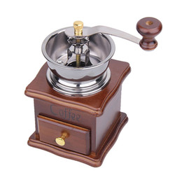 Wholesale Coffee Maker Bean - Manual Coffee Grinder Retro Wood Design Mill Maker Coffee Bean Hand Conical Burr Grinders