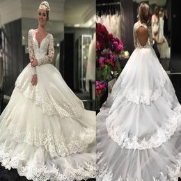 Wholesale Decent Gowns - Decent V-neck Tiered Long Sleeves Wedding Dress with Appliques Lace Top Backless Ball Gowns Bridal Dresses with Long Train