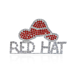 "Broches de palabras online-Wholesale- Rhinestone Red Hat Theme Jewelry ""Red Hat"" Word Brooch Pins para Red Hat Society Ladies"