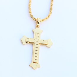 Colgantes de oro macizo 24k cadenas online-Religión Solid 24K Gold Gold Filled GF Cross Pendant Collar de cadena de cuerda de 3mm para hombre 22.5G
