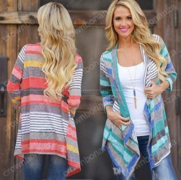 Wholesale Wholesale Jumper Knit - Striped Cardigans Outwear Women Knitted Jacket Vintage Coat Irregular Tops Loose Sweater Casual Blouse Pullover Thicken Jumper top quality