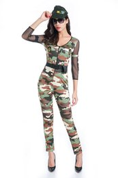 Wholesale Police Woman Jumpsuit - Female Soldier Camouflage Soldier Jumpsuit Cosplay Costumes 2017 Halloween Sexy Tights Camouflage USA Police Officer Uniform