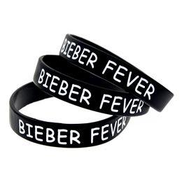 Justin bieber braceletes pulseiras on-line-1 PC Impresso Justin Bieber Bieber Febre Pulseira De Silicone Desgaste Esta Pulseira De Látex-Livre Para Apoiar O Que Você Ama
