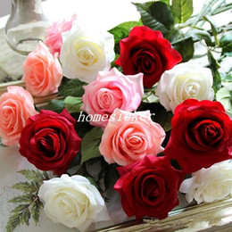 Wholesale Latex Rose Bouquet - 10 Head Decor Rose Artificial Flowers Silk Flowers Floral Latex Real Touch Rose Wedding Bouquet Home Party Design Flowers