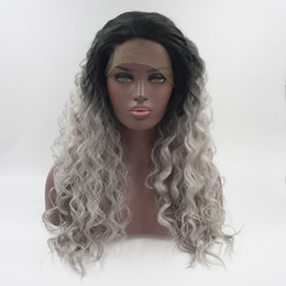 Wholesale Silver Wigs For Women - Factory direct sale black to silver grey ombre wavy synthetic lace front wigs for women fashion unbraided hair heat resistant synthetic wigs